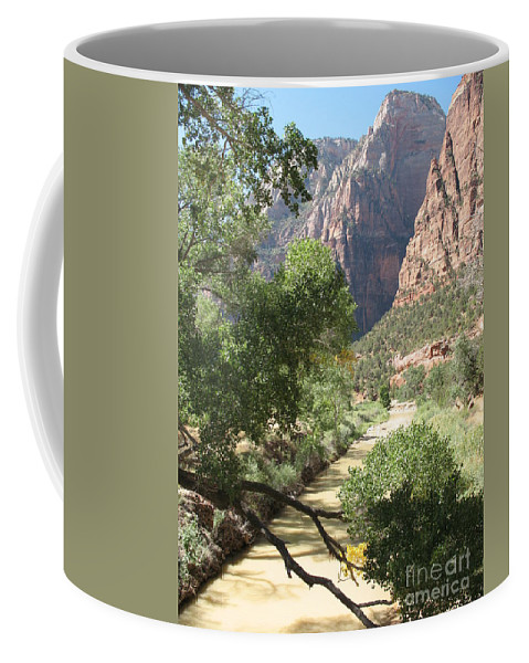 Mountians Coffee Mug featuring the photograph Virgin River Zion Valley by Christiane Schulze Art And Photography