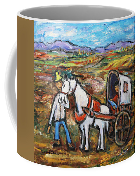 Figurative Coffee Mug featuring the painting Visit The In-laws by Xueling Zou
