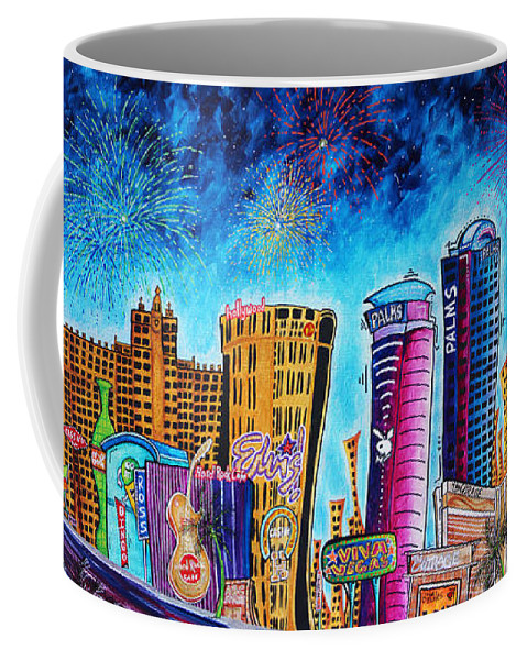 Vegas Coffee Mug featuring the painting Viva Las Vegas A Fun And Funky Pop Art Painting Of The Vegas Skyline And Sign By Megan Duncanson by Megan Duncanson
