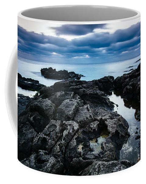Korea Coffee Mug featuring the photograph Volcanic Coastline And Cloudy Sunset by Roy Cruz