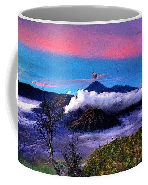 Volcano Coffee Mug featuring the painting Volcano In The Clouds by Florian Rodarte