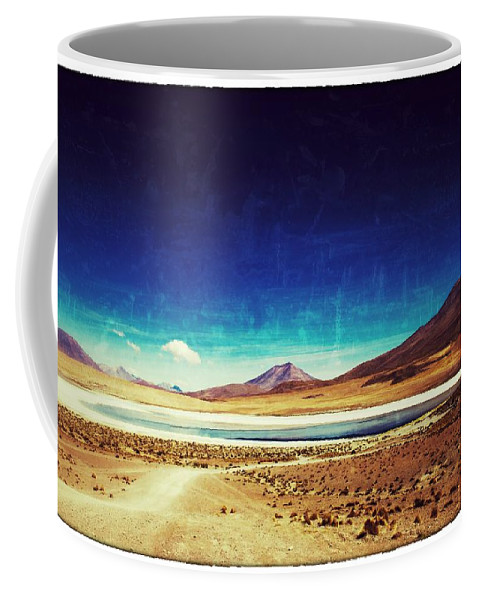 Lagoon Coffee Mug featuring the photograph Volcano Lagoon Bolivia Vintage by For Ninety One Days