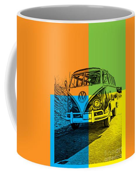 Surfer Coffee Mug featuring the photograph Vw Bus Pop Art 4 by Edward Fielding