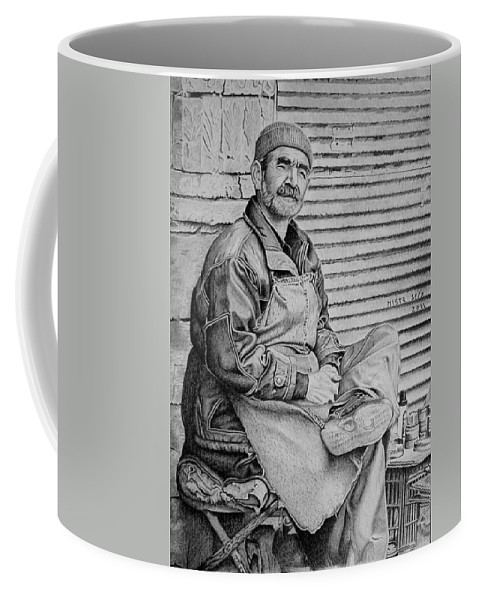 Drawing Coffee Mug featuring the drawing Waiting For A Client by Michal Straska