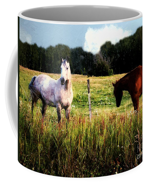 Horses Coffee Mug featuring the painting Waiting For Apples by RC DeWinter