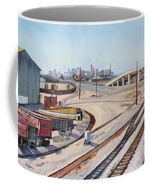 Urban Industrial Landscape Painting; Oil On Canvas Painting Coffee Mug featuring the painting Waiting For The Train by Asha Carolyn Young