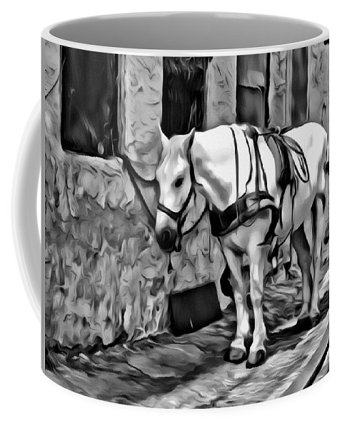 Horse Carriage Untacked Alleyway Black White Coffee Mug featuring the photograph Waiting In The Alleyway by Alice Gipson