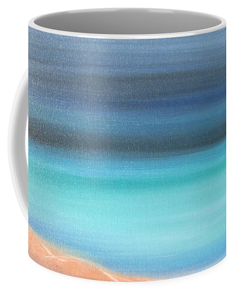 Blue Coffee Mug featuring the painting Waiting by Jacqueline Athmann