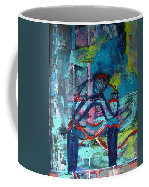 Woman On Bench Coffee Mug featuring the painting Waiting by Peggy Blood