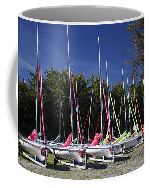 Sailboat Coffee Mug featuring the photograph Waiting To Sail On Lake Taupo by Venetia Featherstone-Witty
