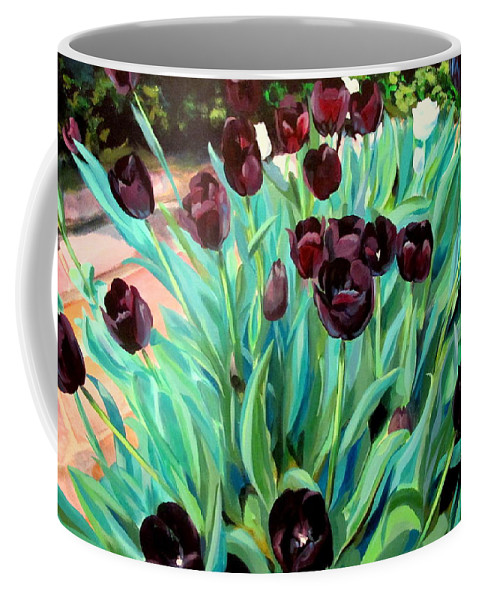 Tulips Coffee Mug featuring the painting Walk Among The Tulips by John Duplantis