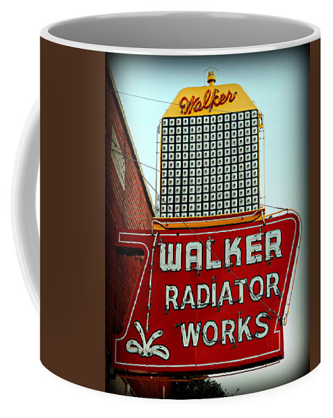 Sign Coffee Mug featuring the photograph Walker Radiator Works Sign by Stephen Stookey