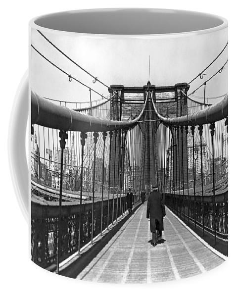 1938 Coffee Mug featuring the photograph Walking On The Brooklyn Bridge by Underwood & Underwood