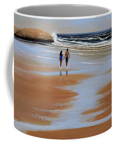 Beach Coffee Mug featuring the painting Walking The Beach by Frank Wilson