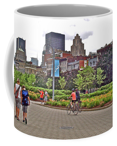 Walkway By Quays Along Saint Lawrence River In Montreal Coffee Mug featuring the photograph Walkway By Quays Along Saint Lawrence River In Montreal-qc by Ruth Hager