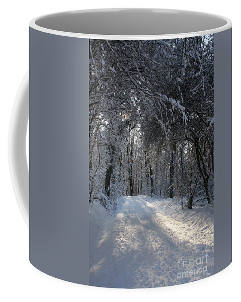 Winter Coffee Mug featuring the photograph Walkway In Black And White by Christiane Schulze Art And Photography