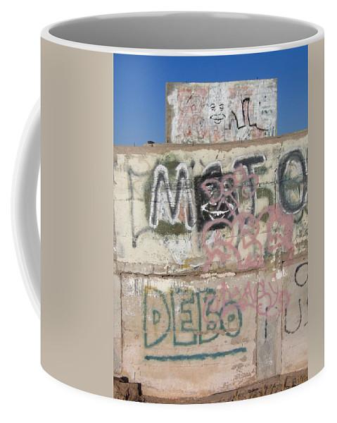 Wall Art Casa Grande Arizona 2004 Concrete Walls Graffiti Alfred E. Newman Coffee Mug featuring the photograph Wall Art Graffiti Concrete Walls Casa Grande Arizona 2004 by David Lee Guss