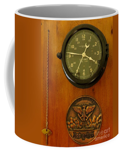 Antique Coffee Mug featuring the photograph Wall Clock And Plague by Zina Stromberg