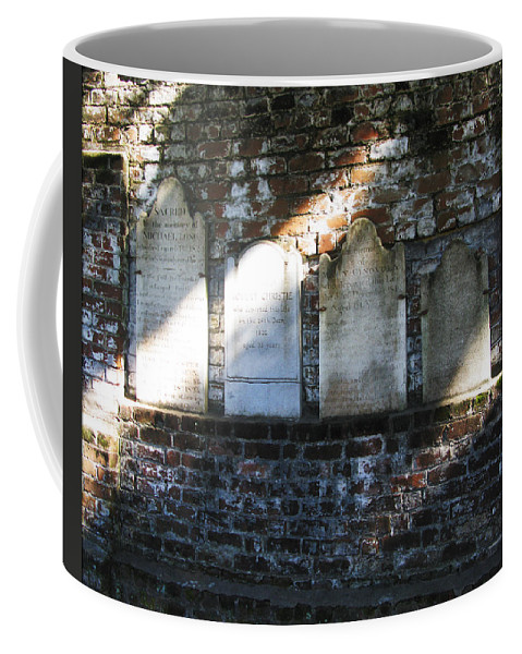 Savannah Coffee Mug featuring the photograph Wall Of Tombstones Knocked Down During Civil War by Brittany Horton