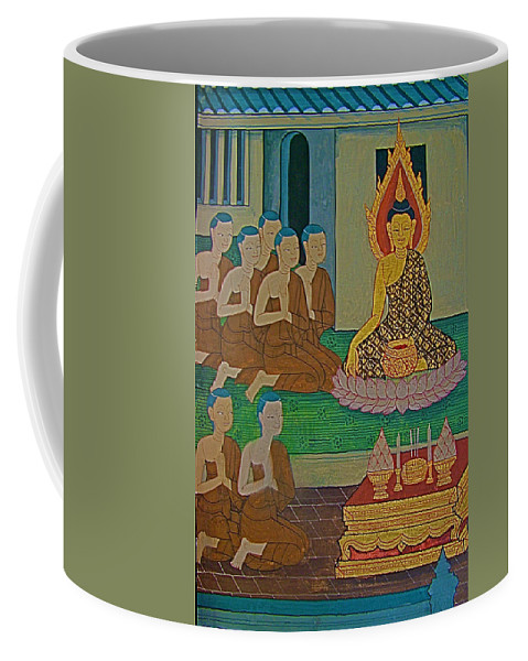 Wall Painting 3 In Wat Po In Bangkok Coffee Mug featuring the photograph Wall Painting 3 In Wat Po In Bangkok-thailand by Ruth Hager