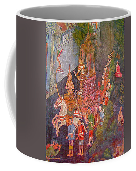 Wall Painting In Wat Suthat In Bangkok Coffee Mug featuring the photograph Wall Painting At Wat Suthat In Bangkok-thailand by Ruth Hager