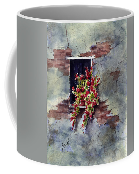 Wall Coffee Mug featuring the painting Wall With Red Flowers by Sam Sidders