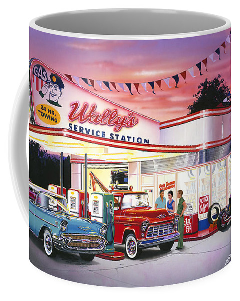 Adult Coffee Mug featuring the photograph Wallys Service Station by Bruce Kaiser