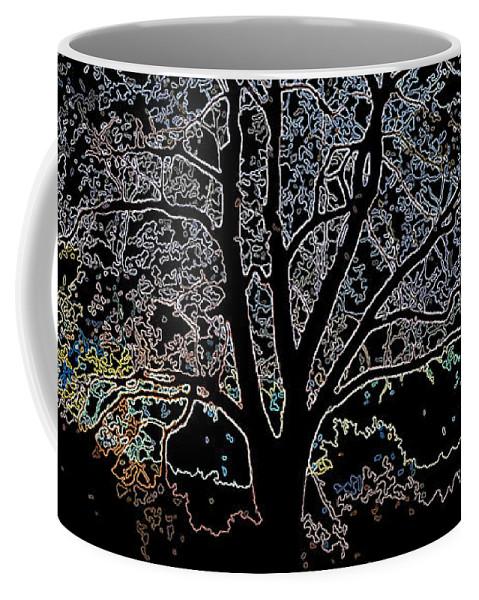 Sunrise Coffee Mug featuring the digital art Walnut Tree Series Glowing Edges by Conni Schaftenaar