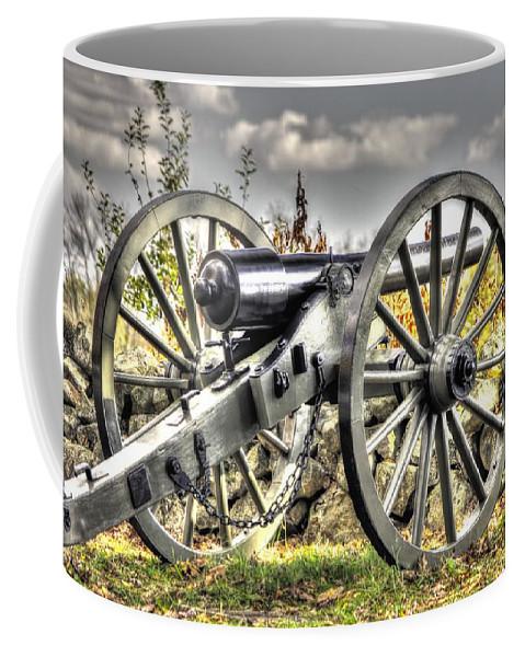 Civil War Coffee Mug featuring the photograph War Thunder - The Letcher Artillery Brander's Battery West Confederate Ave Gettysburg by Michael Mazaika