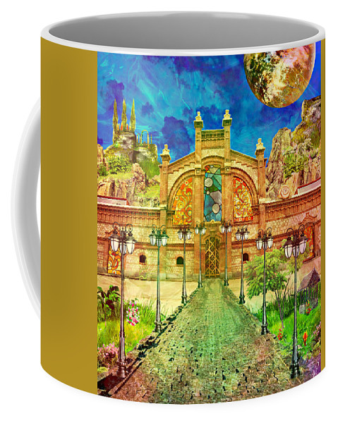 Old Building Coffee Mug featuring the mixed media Warehouse Road by Ally White