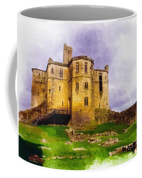 Warkworth Castle Coffee Mug featuring the digital art Warkworth Castle by Don Kuing