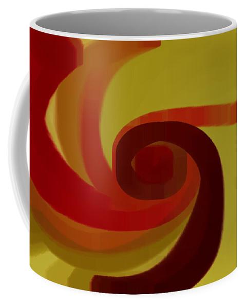 Geometric Coffee Mug featuring the digital art Warm Swirl by Ben and Raisa Gertsberg