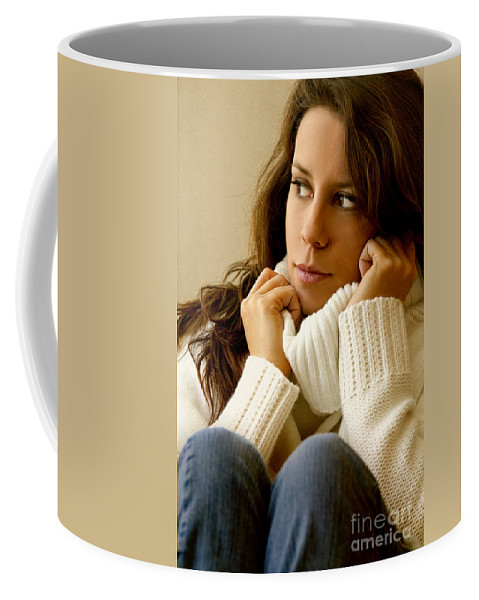 Woman; Lady; Female; Caucasian; Casual; Comfort; Comfortable; Lazy; Sweater; Warm; Warmth; Jeans; Sitting; Lounge; Lounging; Living Room; Indoors; Inside; Brunette; Alone; In Thought; Long Hair; Turtleneck Coffee Mug featuring the photograph Warmth by Margie Hurwich