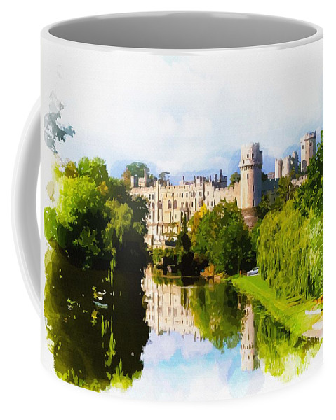 Warwick Castle Coffee Mug featuring the digital art Warwick Castle by Don Kuing