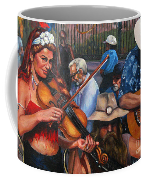 New Orleans Coffee Mug featuring the painting Washboard Lissa On Fiddle by Beverly Boulet