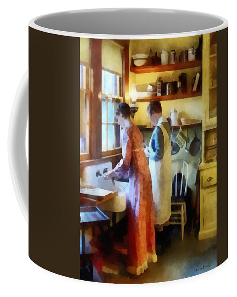 Mother Coffee Mug featuring the photograph Washing Up After Dinner by Susan Savad