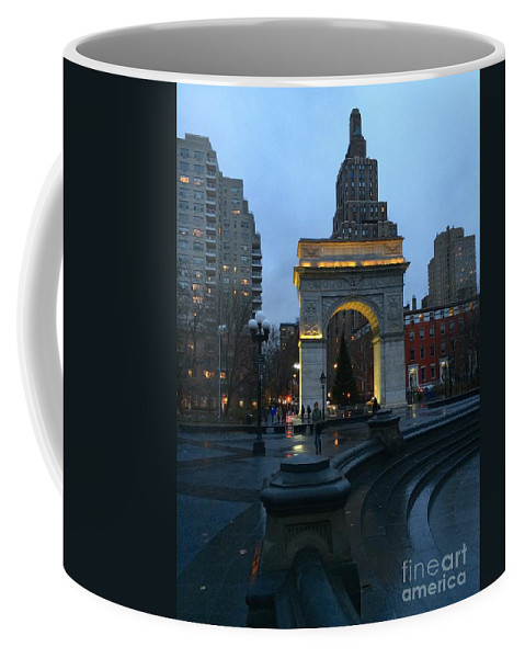 washington Square Coffee Mug featuring the photograph Washington Square In New York At Dusk by Doug Swanson