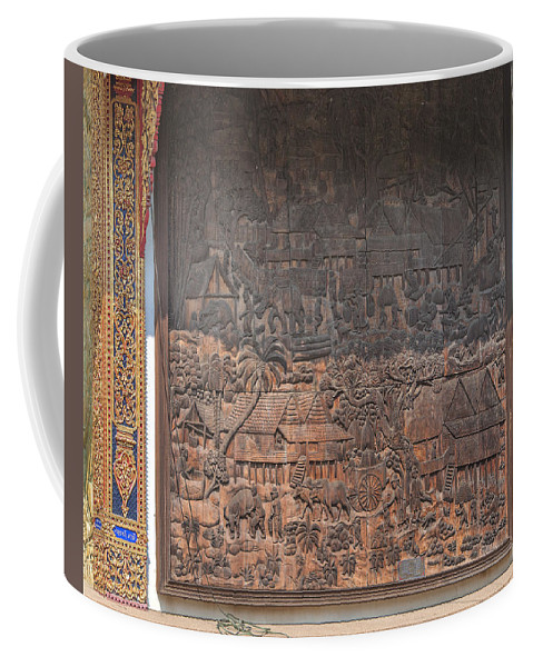 Scenic Coffee Mug featuring the photograph Wat Chai Monkol Phra Ubosot Diorama Of Village Life Dthcm0856 by Gerry Gantt