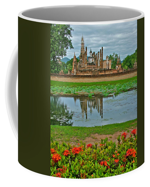 Wat Mahathat Reflection In 13th Century Sukhothai Historical Park Coffee Mug featuring the photograph Wat Mahathat In13th Century Sukhothai Historical Park-thailand by Ruth Hager