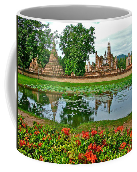 Wat Mahathat Reflection In 13th Century Sukhothai Historical Park Coffee Mug featuring the photograph Wat Mahathat Reflection In 13th Century Sukhothai Historical Park-thailand by Ruth Hager