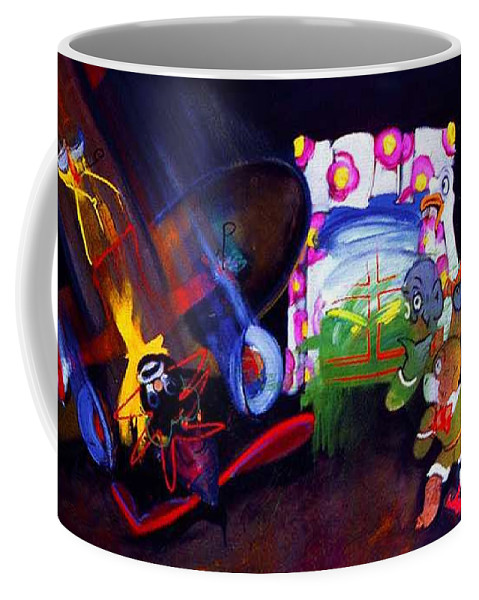 Cartoon Coffee Mug featuring the painting Watch With Mother by Charles Stuart