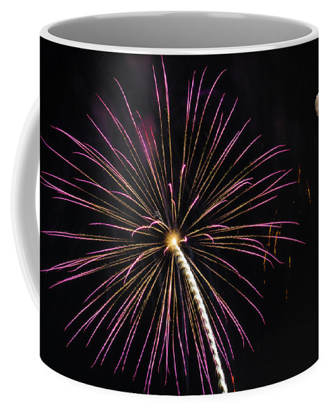 Fireworks Coffee Mug featuring the photograph Watching Pink And Gold Explosion - Fireworks And Moon I by Penny Lisowski