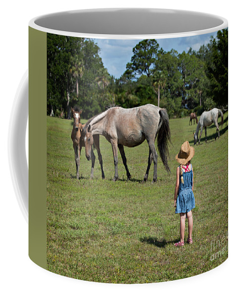 Wild Coffee Mug featuring the photograph Watching The Wild Horses by Louise Heusinkveld