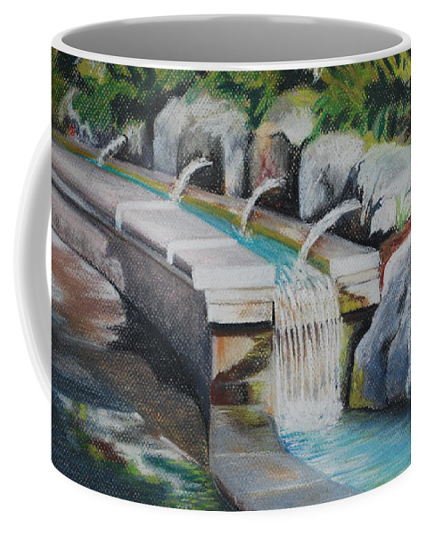 Water Coffee Mug featuring the pastel Water Fall In The Gratto by Joy Bradley