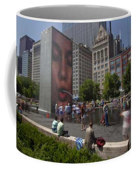 Fountain Coffee Mug featuring the photograph Water Fun In Chicago 2 by Sven Brogren