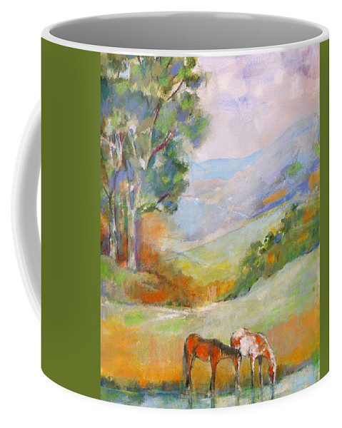 Horses Coffee Mug featuring the painting Water Hole by Mary Armstrong
