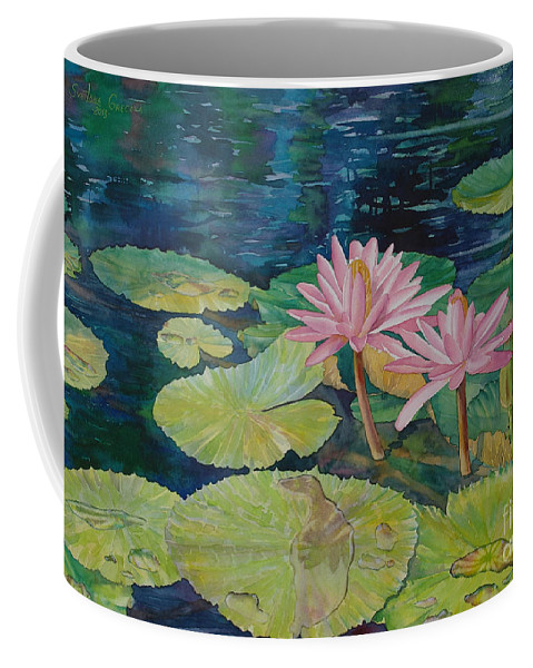 Sveta Artworks Coffee Mug featuring the painting Water Lily In The Morning by SvetLana Grecova
