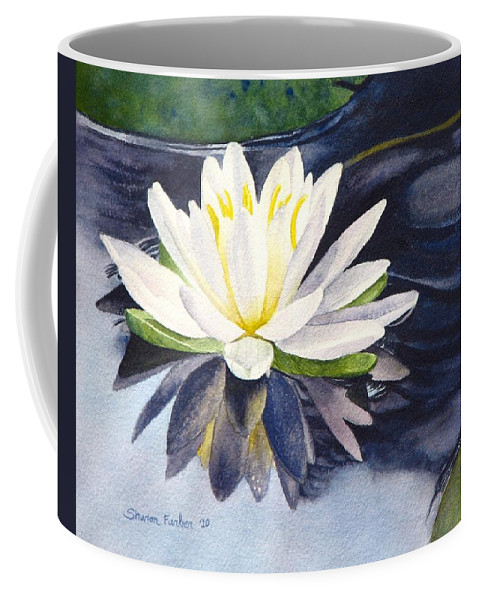 Water Lily Coffee Mug featuring the painting Water Lily by Sharon Farber