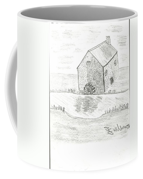 Water Mill Coffee Mug featuring the drawing Water Mill by John Williams