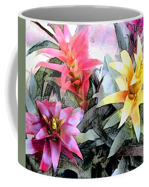 Tropics Tropical Plant Bromeliad Colorful Coffee Mug featuring the painting Watercolor And Ink Sketch Of Colorful Bromeliads by Elaine Plesser